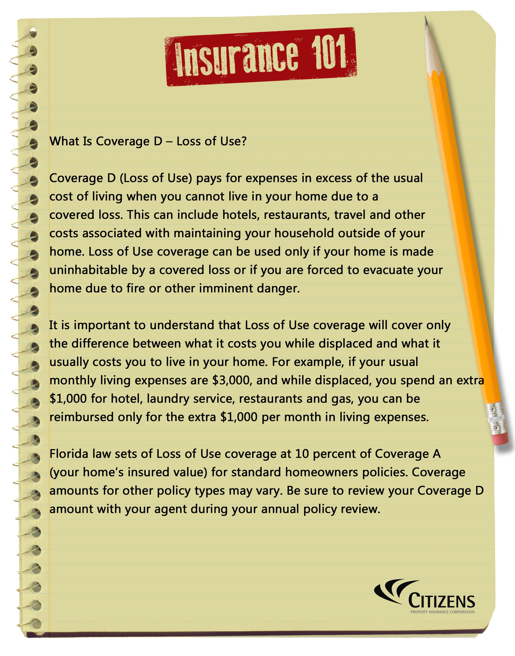 What Is Coverage D Loss Of Use Homeowners Insurance