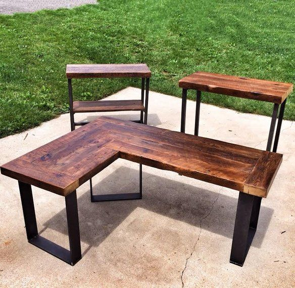 Oversized Wood And Metal Laptop Table: Reclaimed Wood Furniture