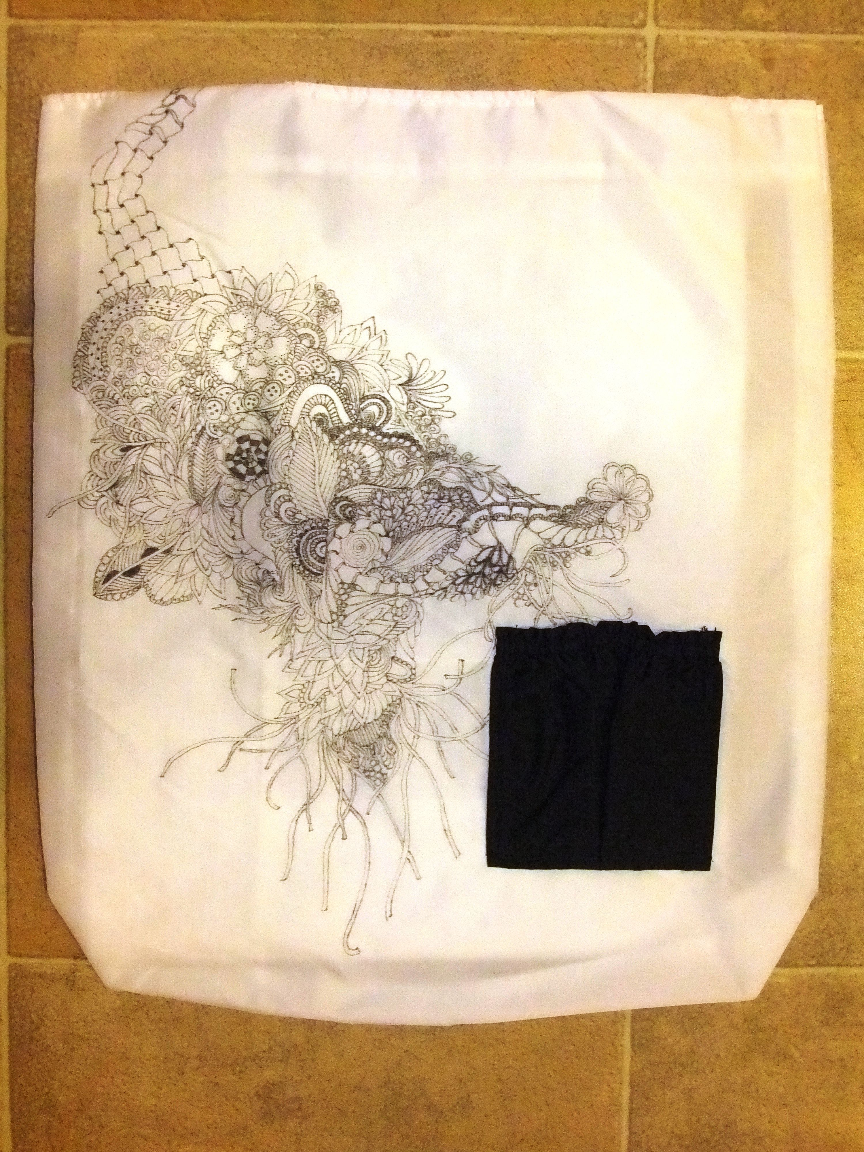 Zendoodle Market Bag with pocket  Bag is handmade with Zentangle patterns drawn freehand.  Designed & Created by Deborah A. Pace