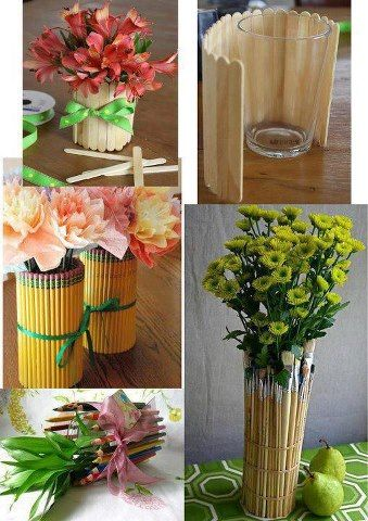 How To Make Flower Vase With Pencils Brushes Or Ice Cream Sticks