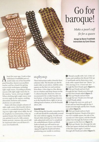 Wide bracelet with honeycombs and beads | biser.info - all about beads and bead work