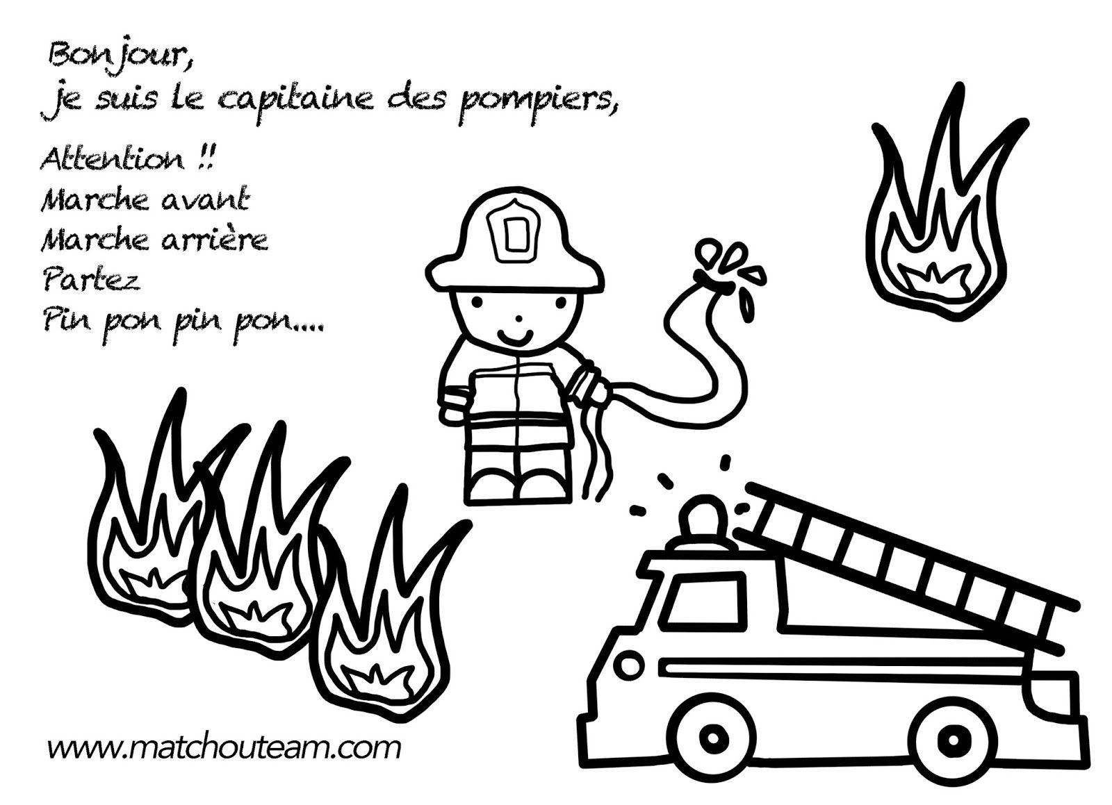 Comptine capitaine des pompiers au feu les pompiers pinterest pompier comptines et - Dessin pompier facile ...
