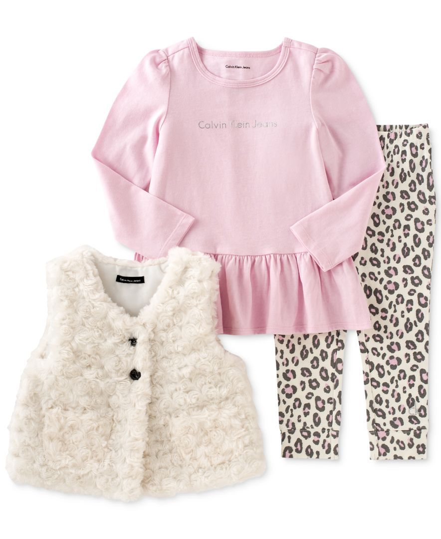Calvin Klein Baby Girls 3 Piece Faux Fur Vest Tunic Leggings Set Kids Baby Macy S Calvin Klein Baby Girl Outfits Newborn Girl Outfits