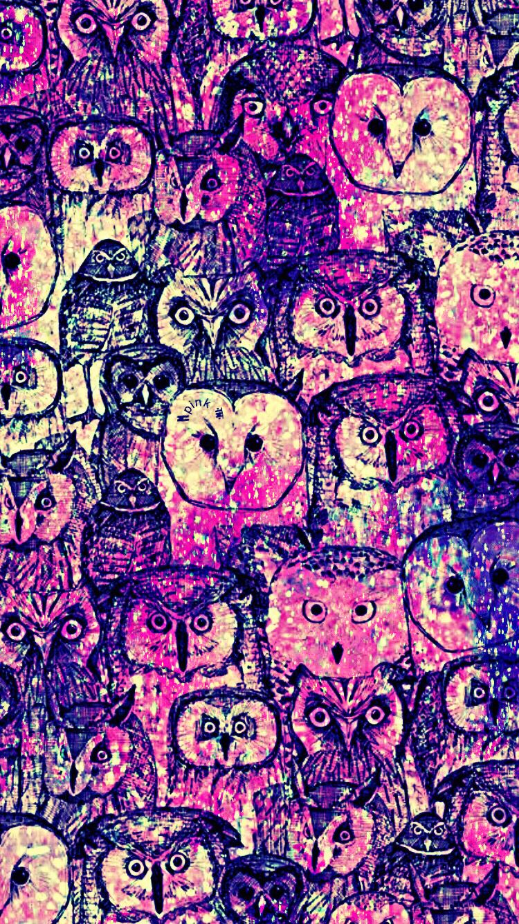 Cute Pattern Owl Galaxy iPhone/Android Wallpaper I Created