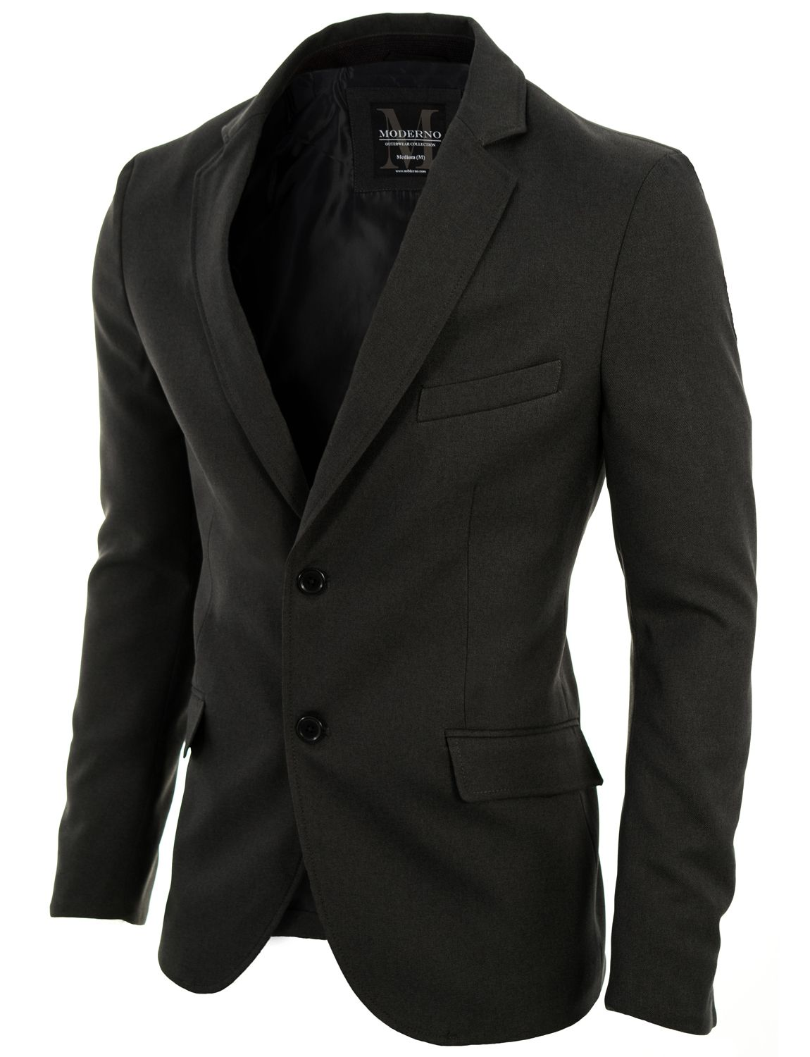 2f06a05a2f9c MODERNO - Mens Slim Fit Two Buttons Blazer Jacket Gray (MOD14514B ...