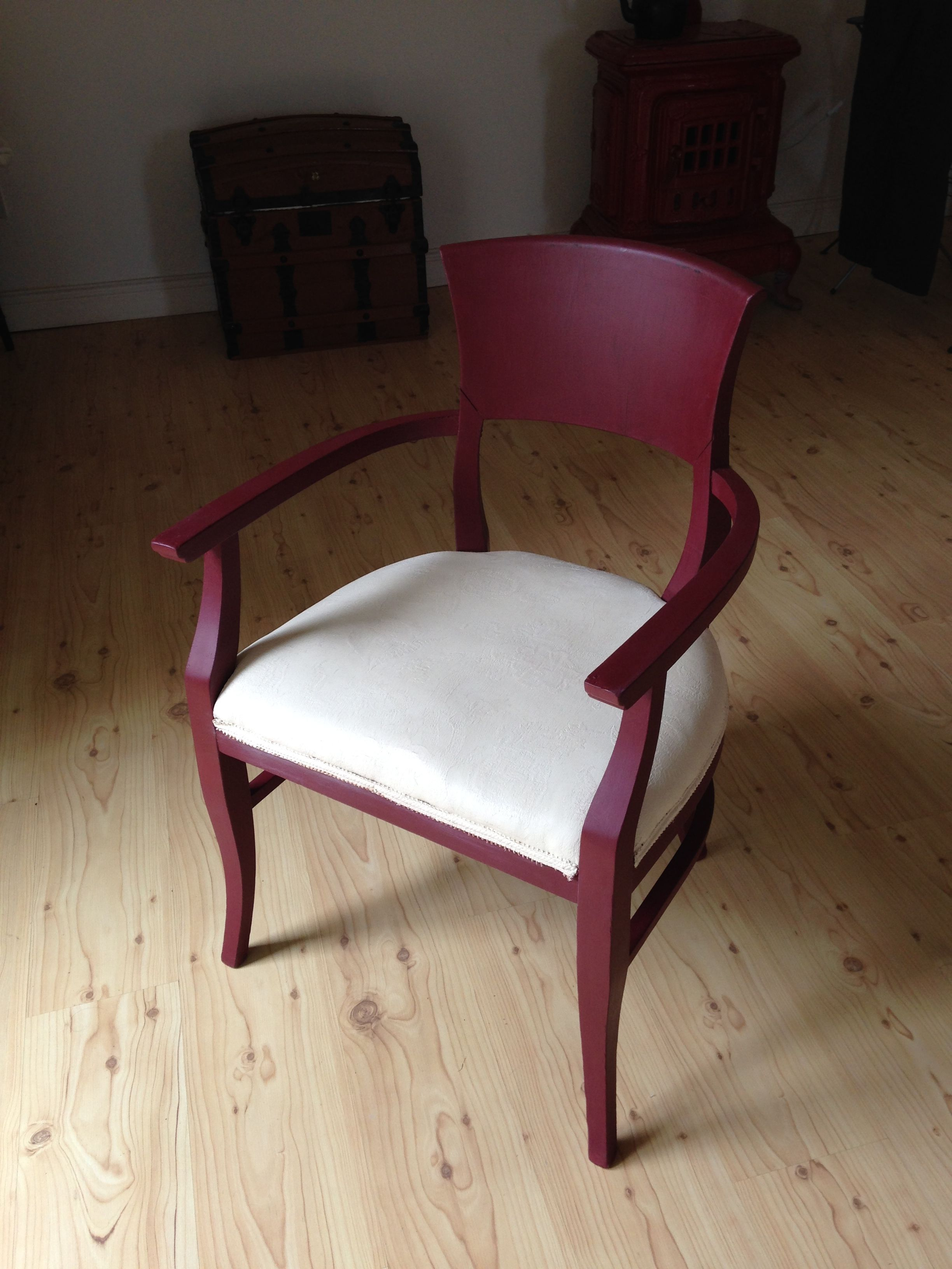 Chair Painted In Chalk Paint Chair Burgundy Seat Old