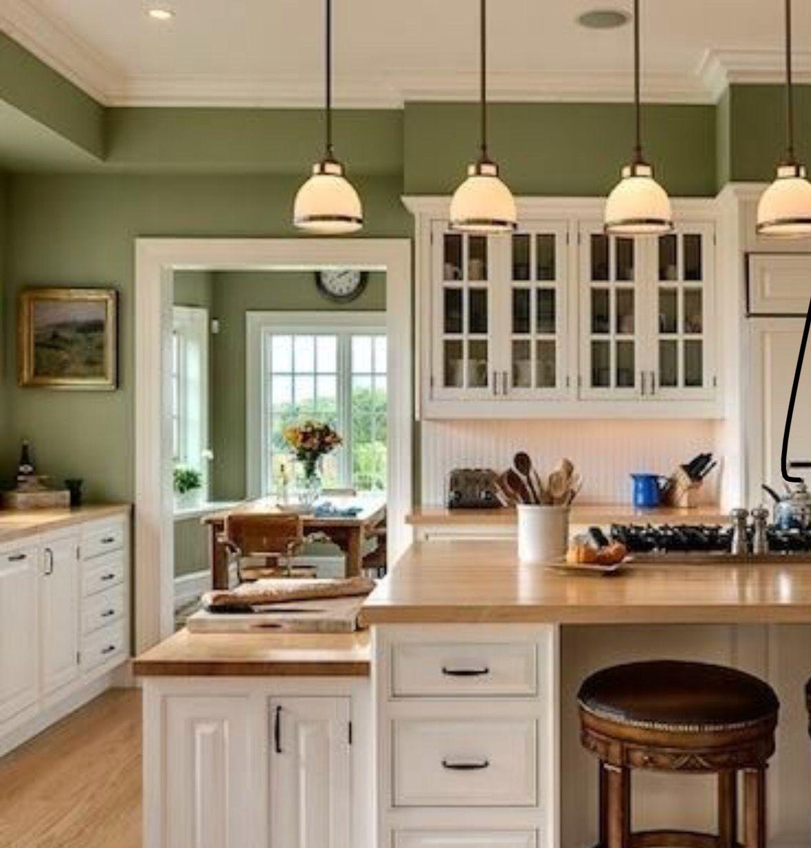 Moss green kitchen Green kitchen walls, Paint for
