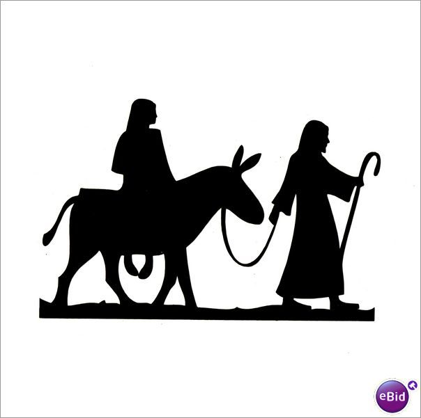 "10 x ""MARY & JOSEPH"" SILHOUETTE CHRISTMAS DIE CUTS IN BLACK"
