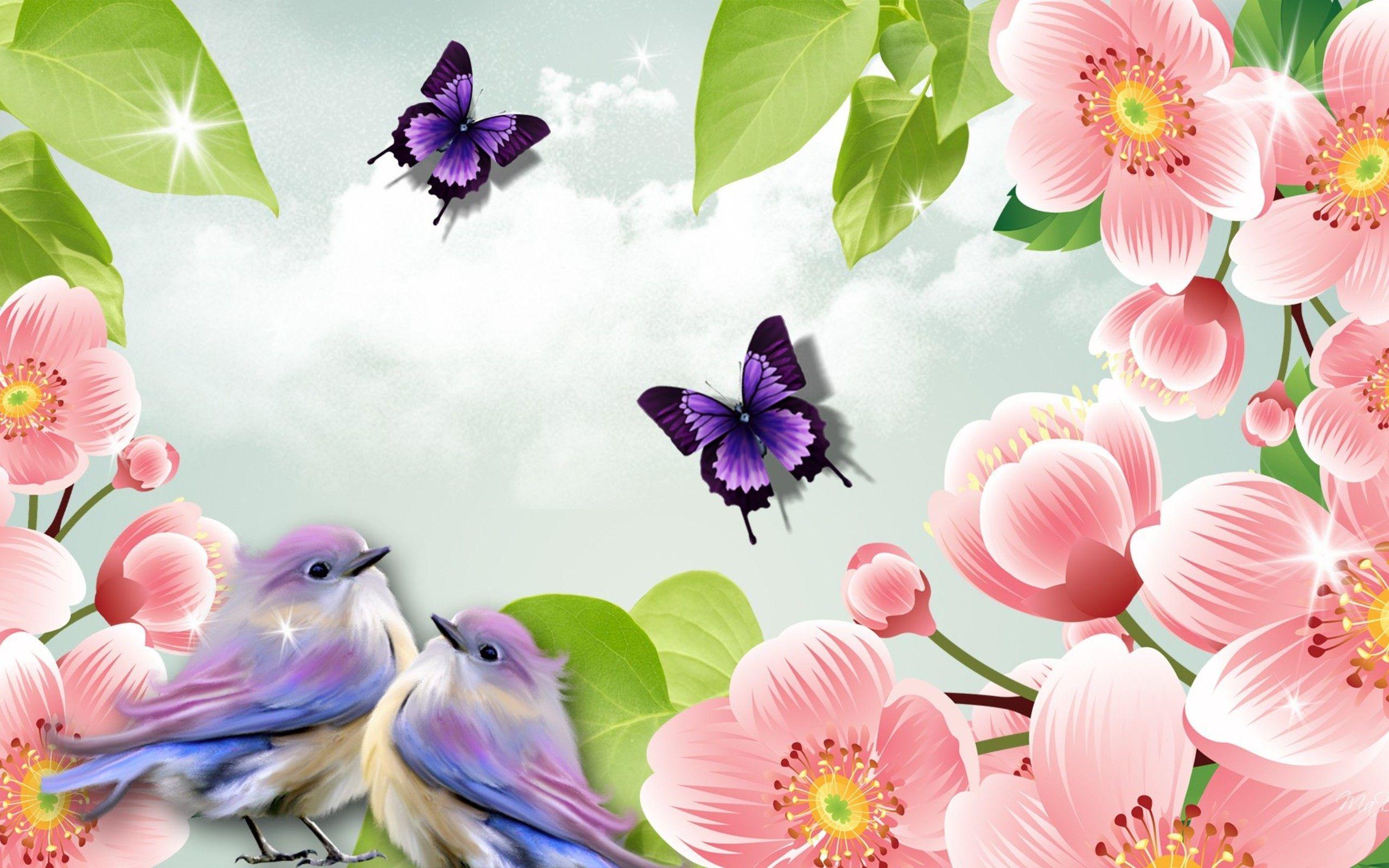 Butterflies Birds And Flowers Wallpaper Spring Wallpaper Spring Wallpaper Hd Free Spring Wallpaper