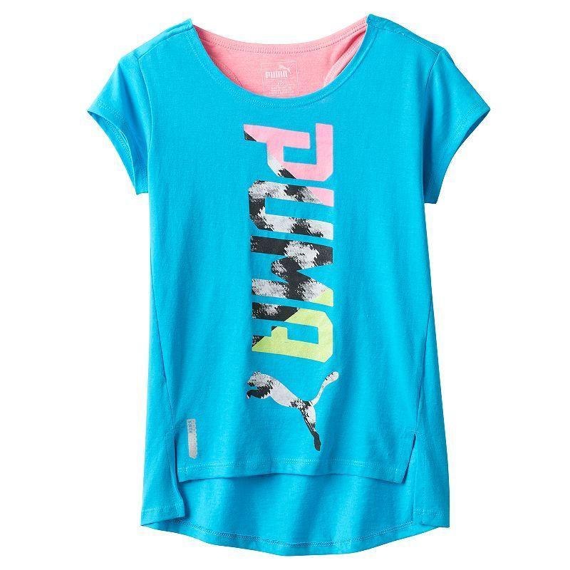Girls 7-16 PUMA Logo Hi-Low Tee, Brt Blue