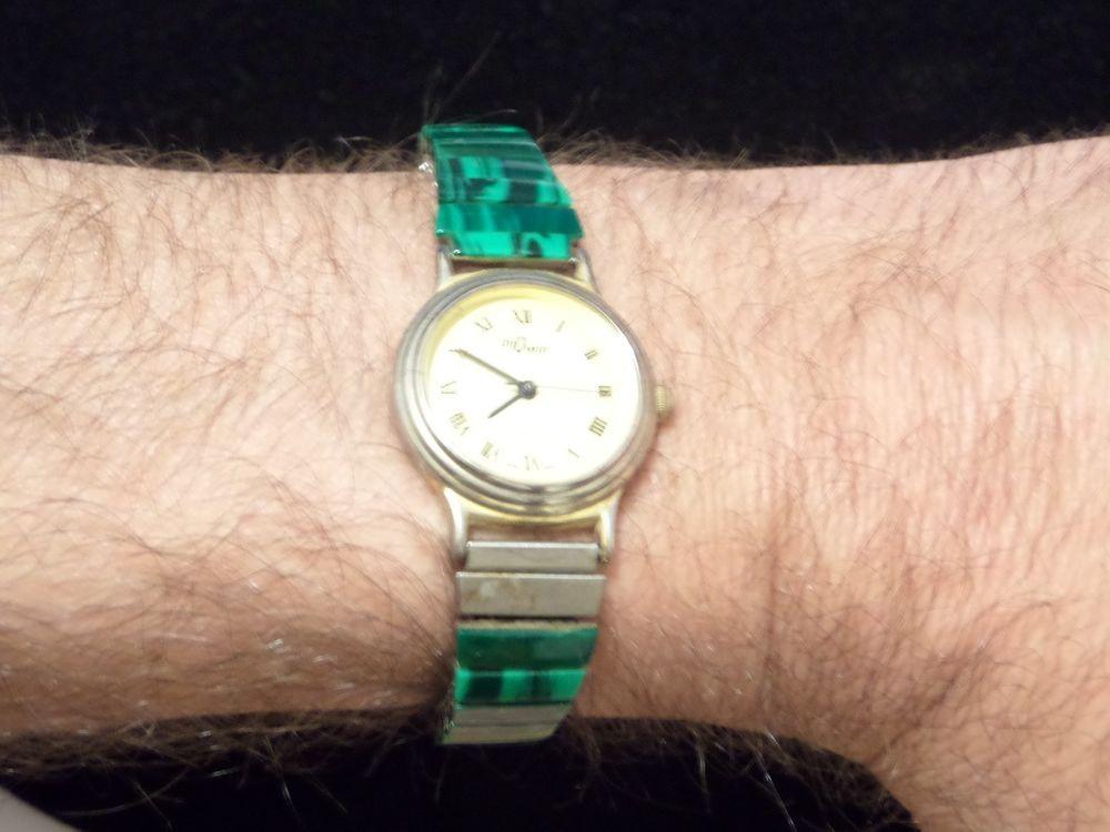 Vintage Bijowin Quartz Japan Movt Watch Malachite Band Missing One Panel Bijowin Gold Watch Quartz Watches