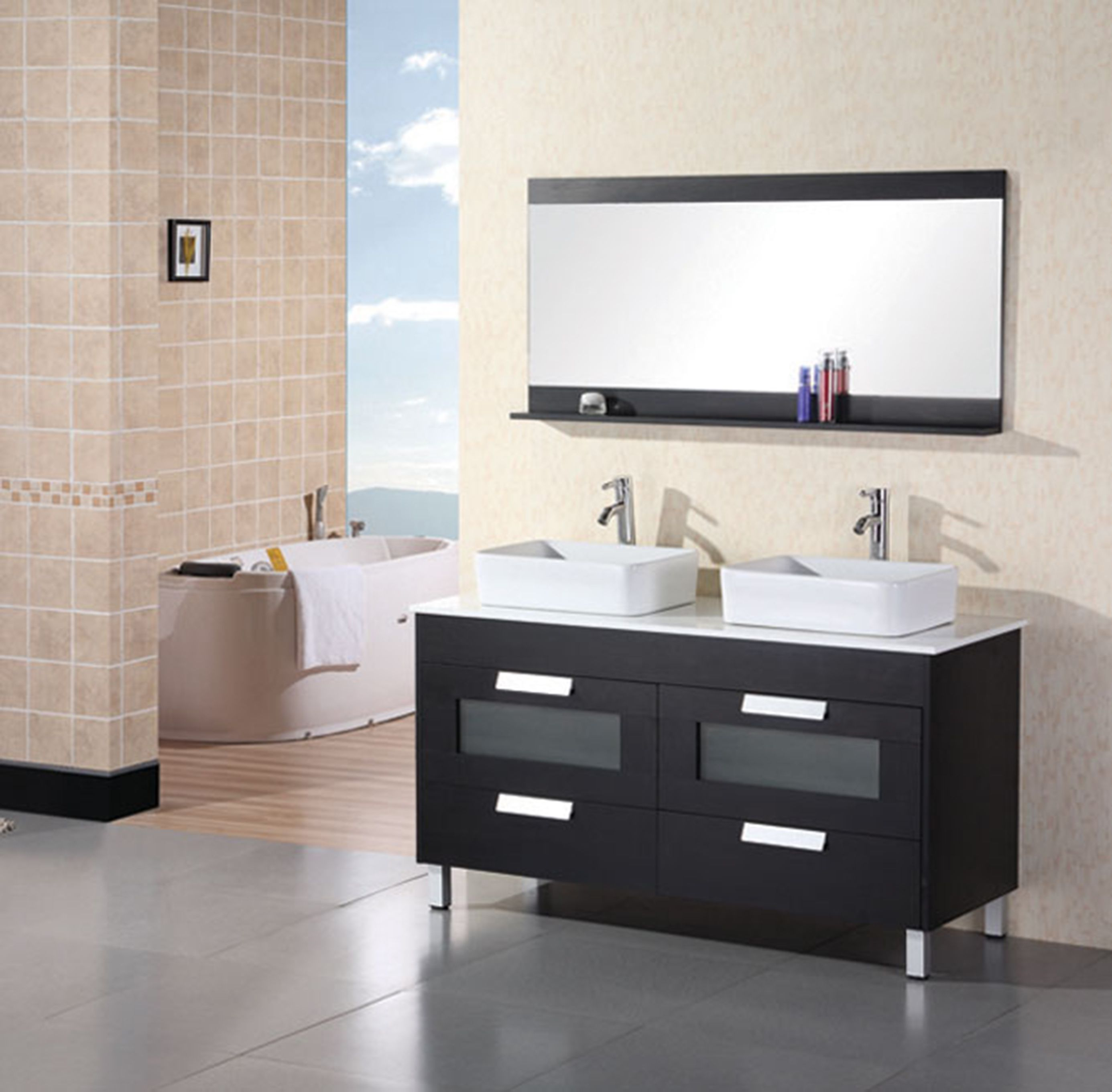 Francesca 55 Double Sink Vanity Set In Espresso Black Vanity