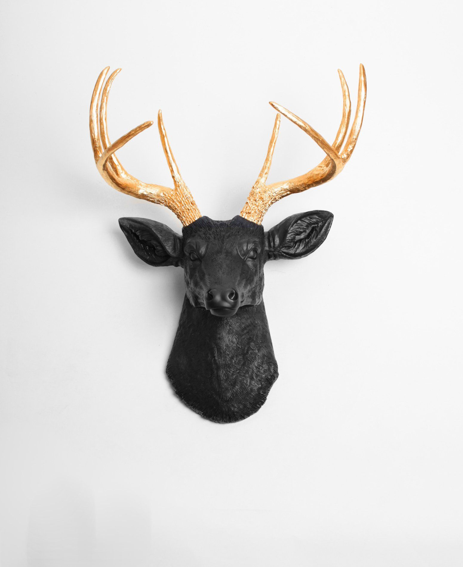The Alexandr Black Gold Deer Head Wall Decoration Faux Stag Deer Head Decor Faux Deer Head Wall Faux Deer