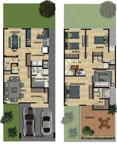Plano de casa de 187m2 en dos pisos y 150m2 de terreno for Dimensiones arquitectonicas