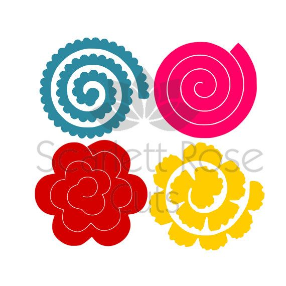 Rolled paper flower 3d template svg dxf cut file for silhouette club rolled paper flowers svg 3d templates by scarlettrosecuts on mightylinksfo