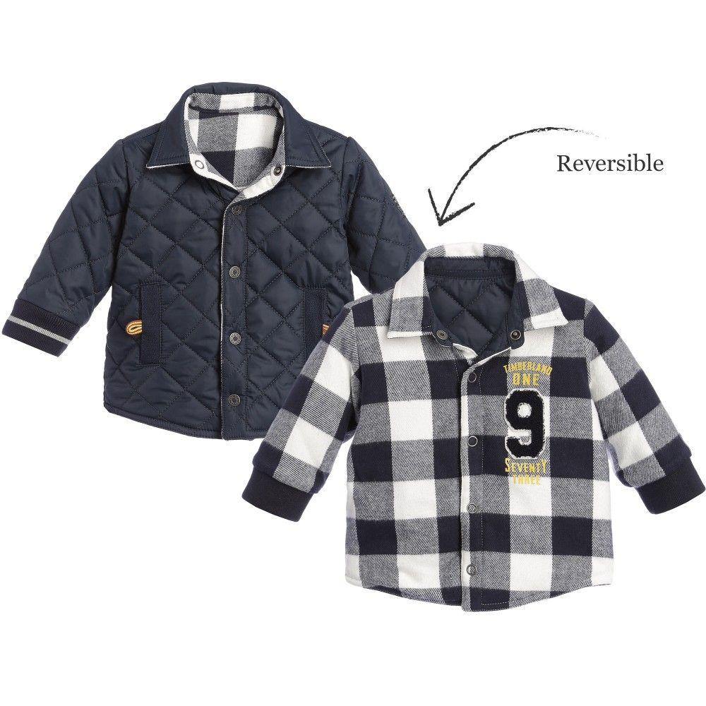24bd49d88 Timberland Boys Navy Blue Reversible Padded Shirt Jacket at ...