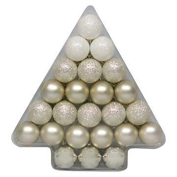24ct 40mm Champagne Shatterproof Christmas Ornament Set - Wondershop™