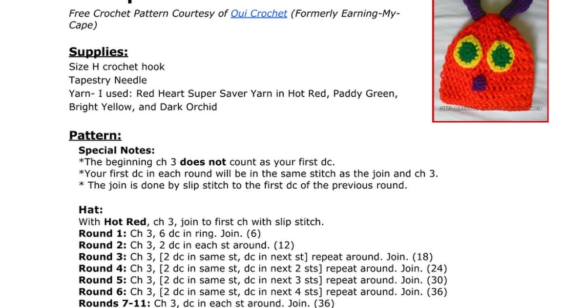 Caterpillar Hat Free Crochet Pattern Courtesy of Oui Crochet ...
