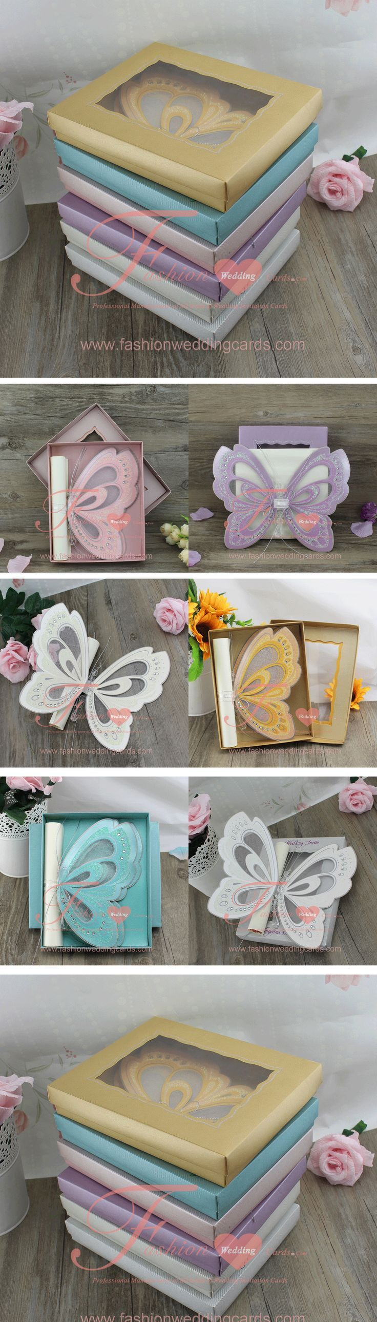 T192 Unique Design Gold Butterfly Scroll Wedding Invitation Cards