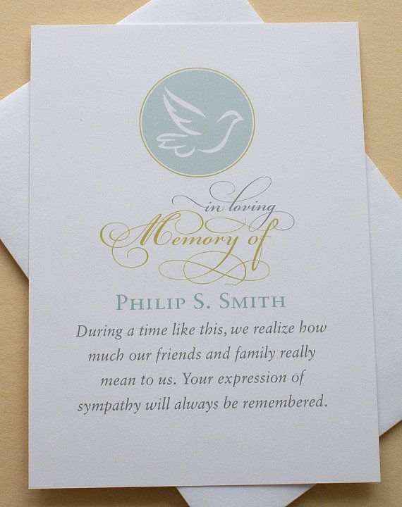 English Or Spanish Funeral Thank You Sympathy Cards With A Dove