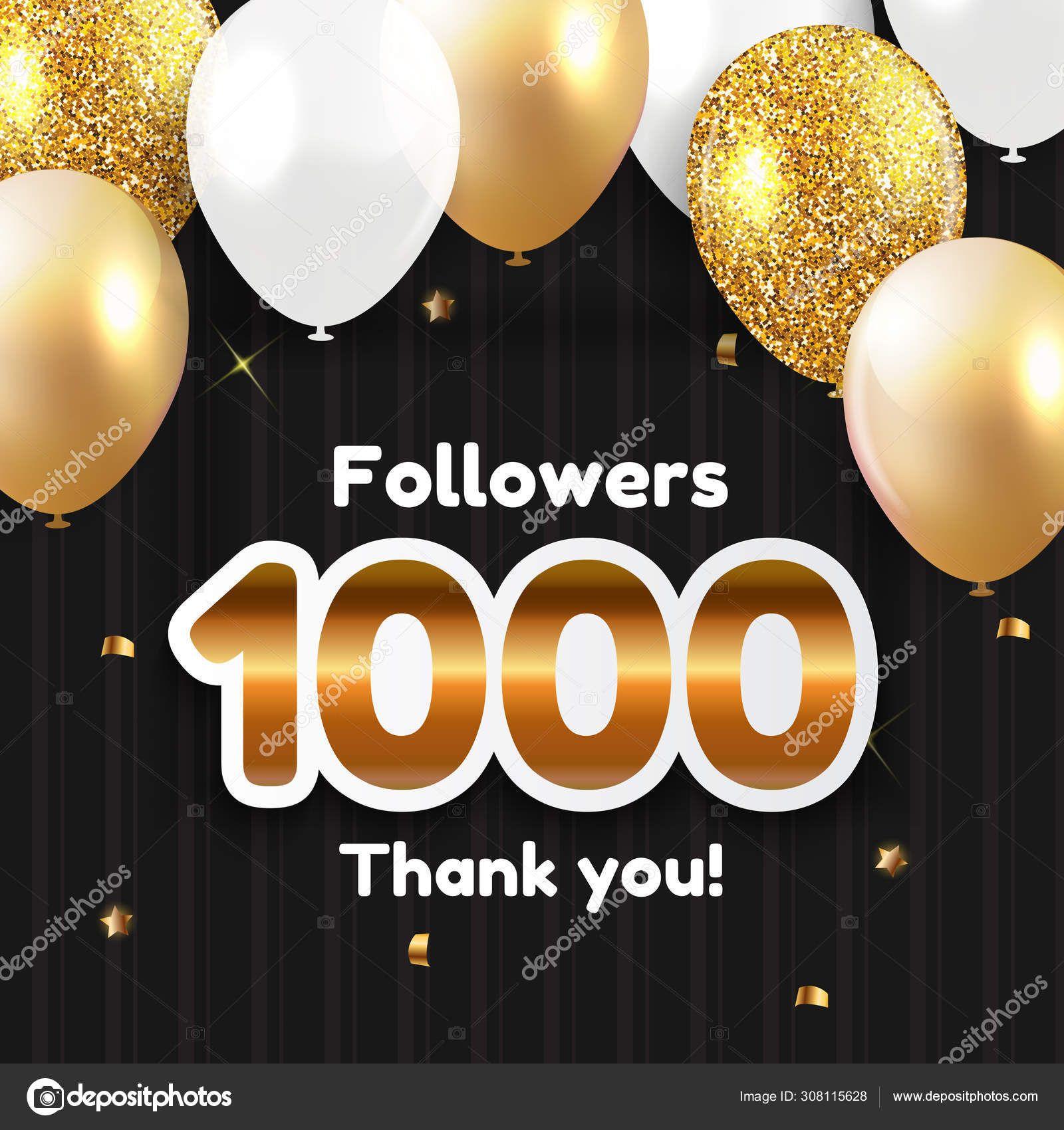 1000 Seguidores, Obrigado Fundo para amigos de redes sociais. Ilustração vetorial eps10