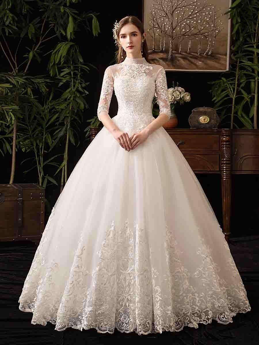 Women S Wedding Dress Turtleneck Half Sleeve Backless Applique Dress Womens Wedding Dresses Bridal Gowns Vintage Lace Wedding Dress Vintage [ 1200 x 900 Pixel ]