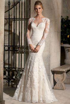 Vestiti da sposa pizzo con maniche