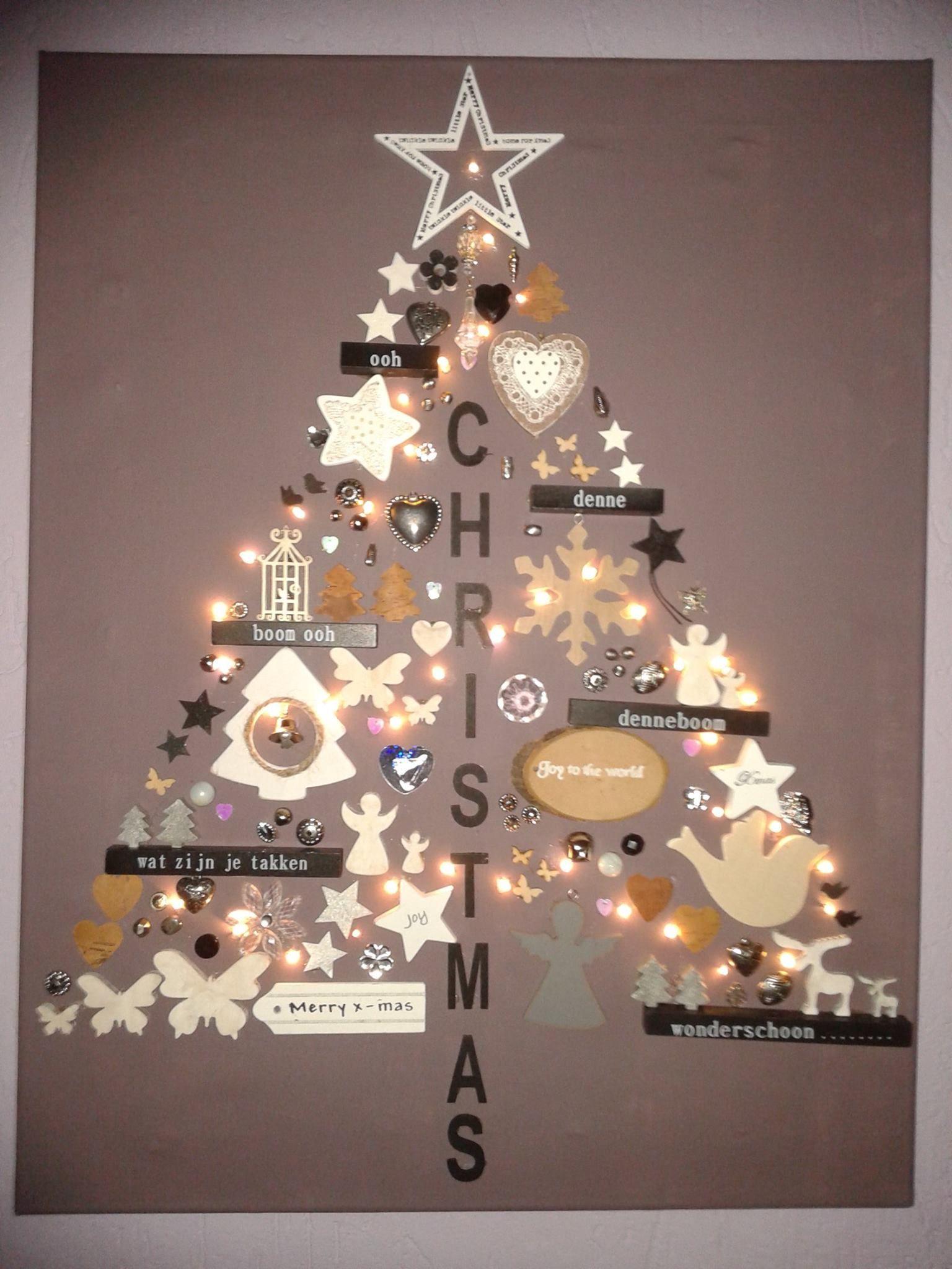 Benodigdheden Canvasdoek Verf Kerstdecoratie Lijm 1 Verf Het Canvas Naar