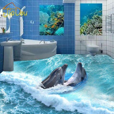 custom photo floor wallpaper 3d stereoscopic dolphin ocean