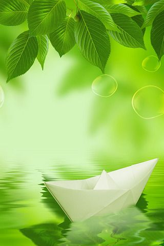 Download Free Paper Boat 3d Green Nature Iphone Wallpaper