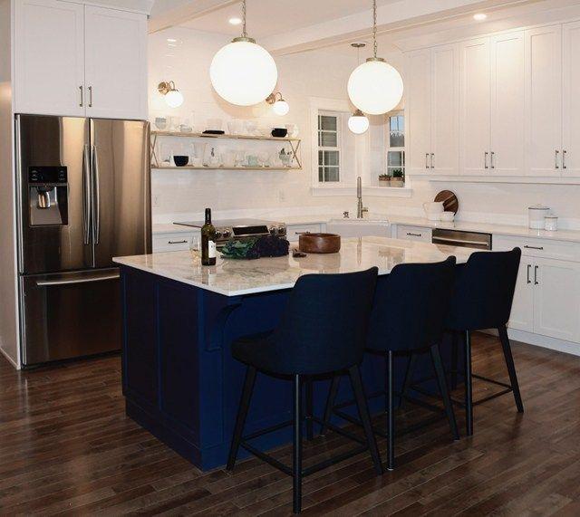 renovation challenge modern kitchen reveal modern farmhouse kitchens blue kitchen island on farmhouse kitchen navy island id=83258