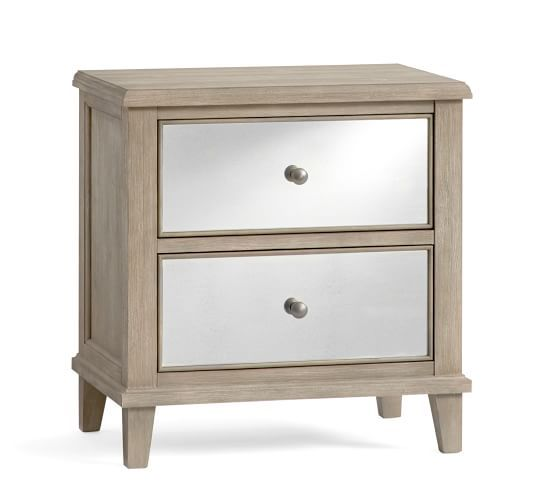 Miranda Mirrored Nightstand Bedside Tables Nightstands Mirrored