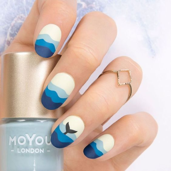 30 Fish Nail Art Ideas which is the trending manicure design of 2019 - Hike n Dip