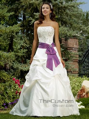 A-line Strapless Chapel Taffeta Wedding Dresses 117W2322L