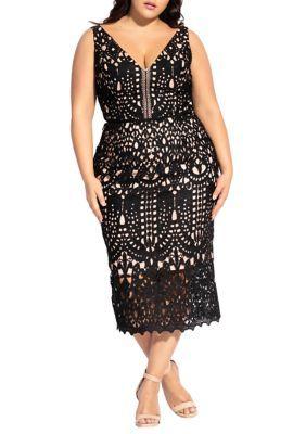 City Chic Women Plus Size All Class Dress – Black – 14W