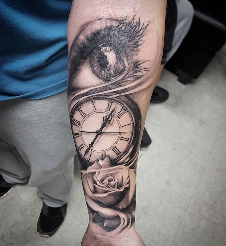 Eye Clock Rose Done 7 Months Ago Today Tattoo Sleeve Tattoos Eye Tattoo Tattoos