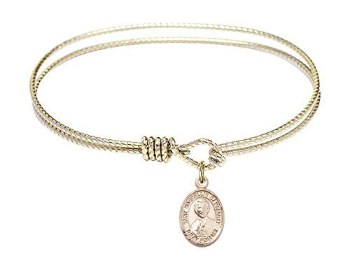 Marcellin Champagnat charm. 6 1//4 inch Oval Eye Hook Bangle Bracelet with a St