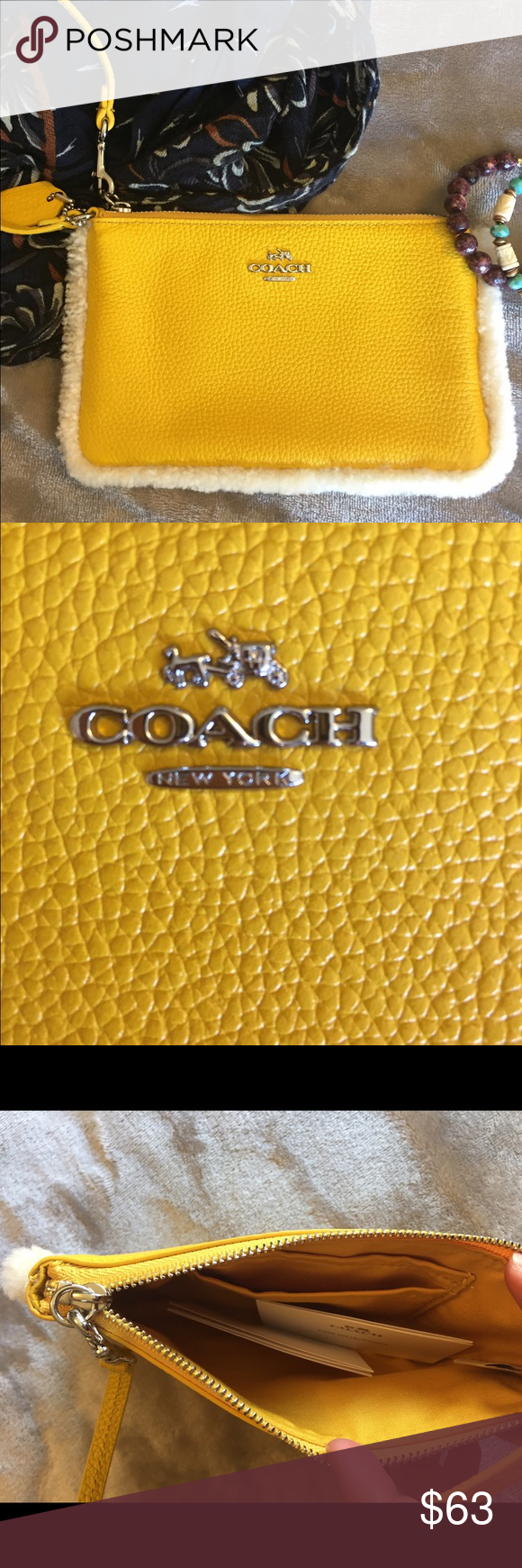 LAST CHANCE!! Coach wristlet. NWOT! Incl box. Coach wristlet. NWOT! Includes box. Yellow with fur around the edges. Brand new with box. Husband accidentally cut off price tags because he thought I was gifting it to my sister :/. Never used. UPDATE 2/18/17 - only available for a few more days, then it's coming out of the box and going into my personal collection.:) Coach Bags Clutches & Wristlets