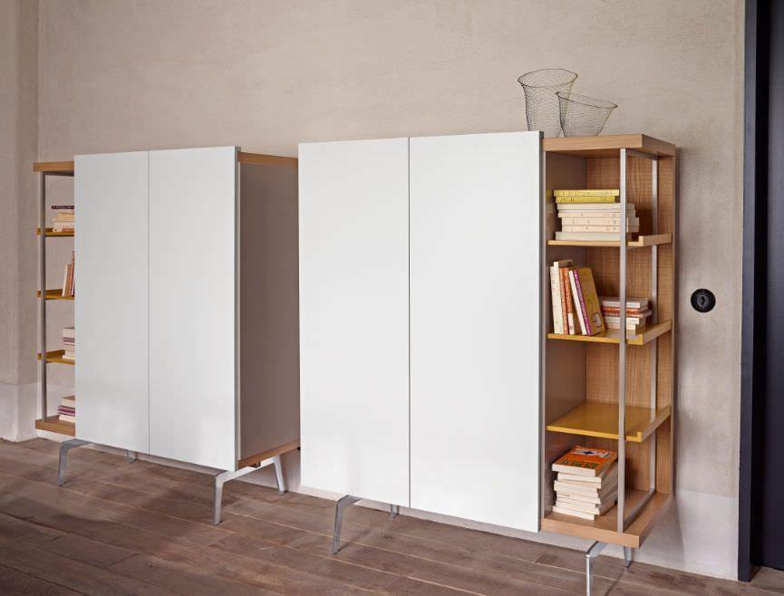 buffet haut contemporain en aluminium en ch ne mixte ligne roset tall cabinet. Black Bedroom Furniture Sets. Home Design Ideas