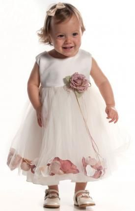 Ivory Baby Flower Girl Dress With Dusky Pink Petals 6 24m 2767