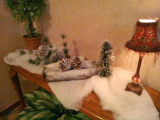 Winter Decorations Firewood Sprayed With Fake Snow And Fluff