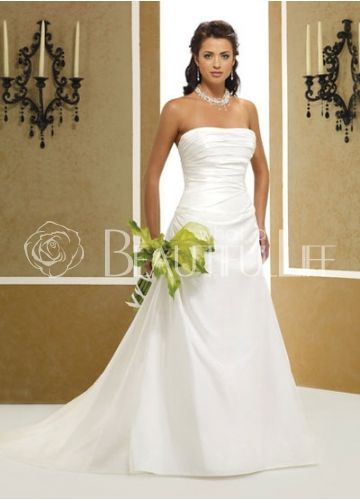 28699plain pleated satin strapless a line sweep wedding dress