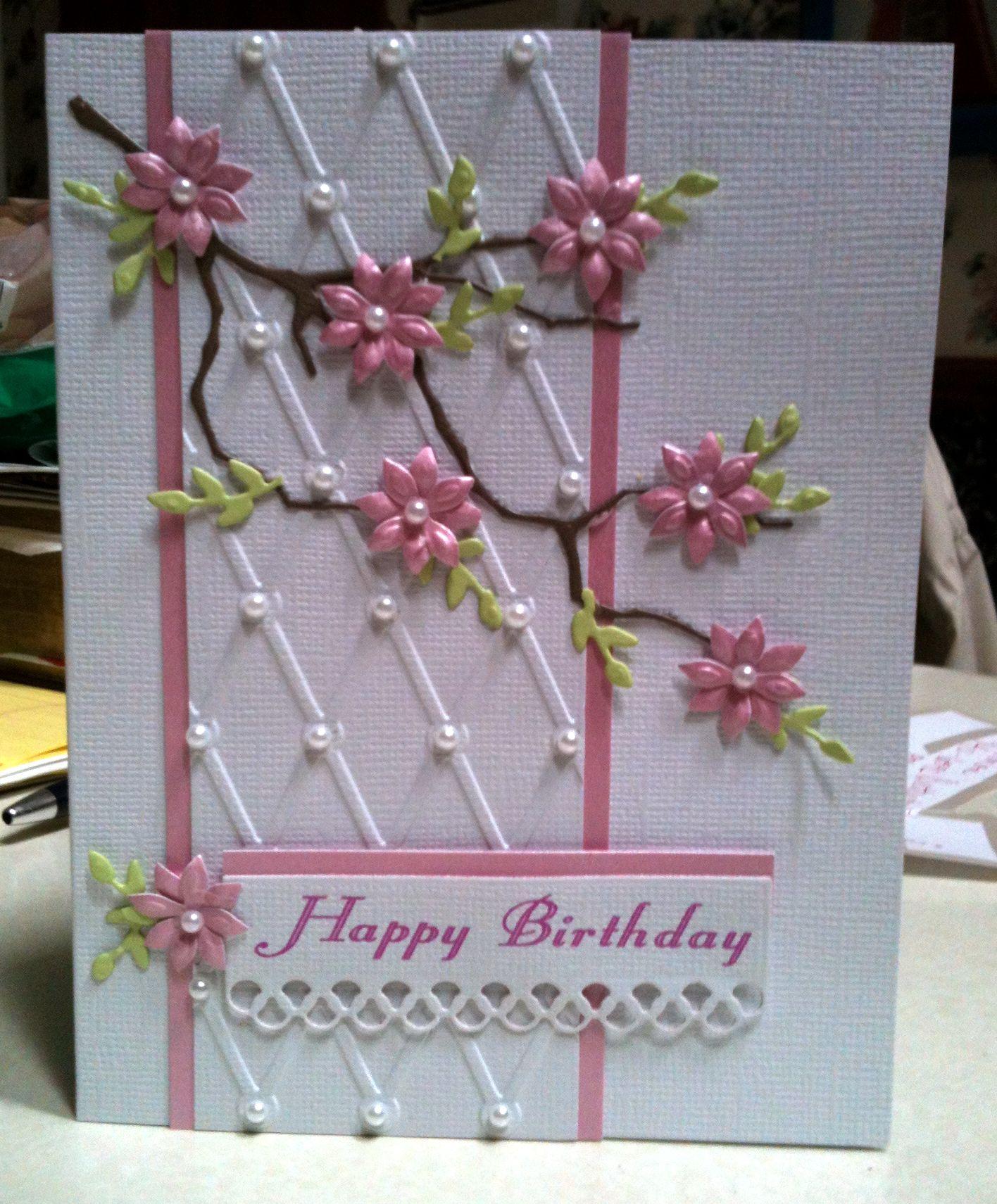 Pink Flowers Happy Birthday