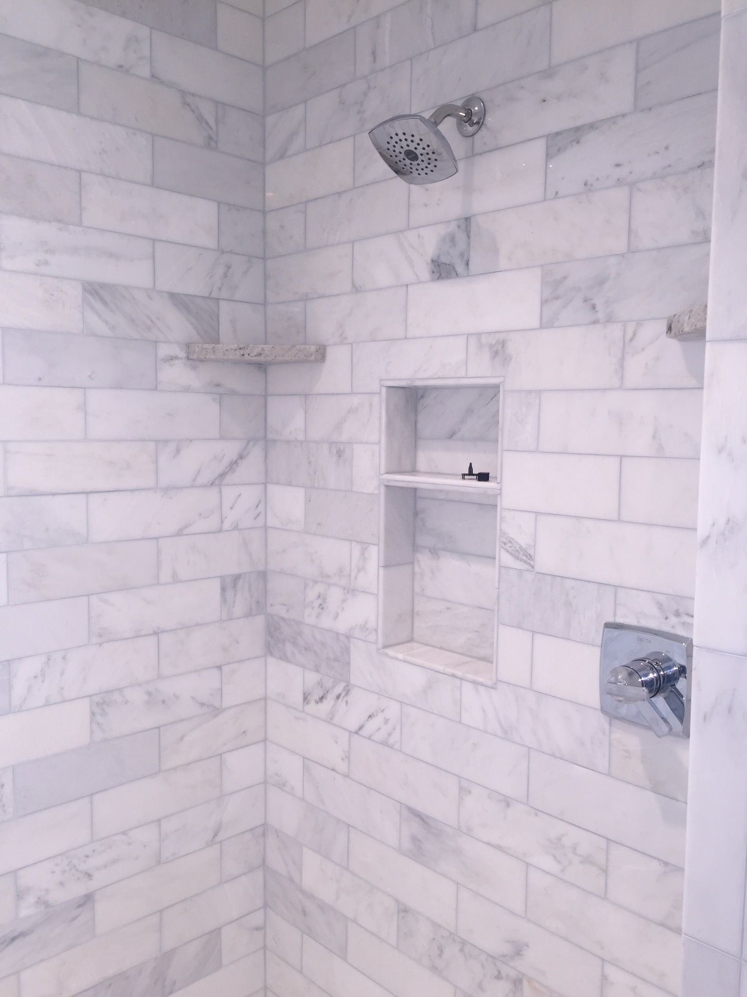Our Shower In The Master Bath Love It 4x12 Marble Subway Tile With Marble Hexagon Tile Floor Marble Subway Tiles Modern Bathroom Tile Marble Shower Walls
