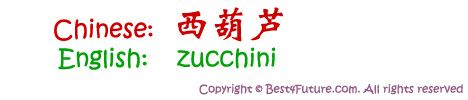 "Chinese characters for ""zucchini"""