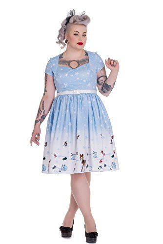a77763eed8bc7 Hell Bunny Plus Christmas Winter Wonderland and Animals Party Flair Dress  (2XL) Hell Bunny