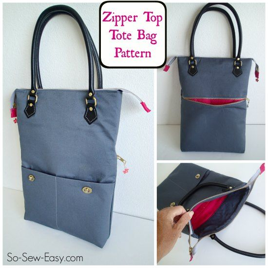 Zipper Top Tote - free bag pattern - So Sew Easy