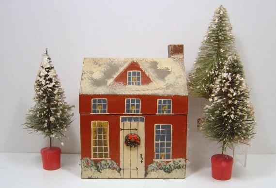 Vintage Christmas Bottle Brush Flocked Trees 7 Inch X 3