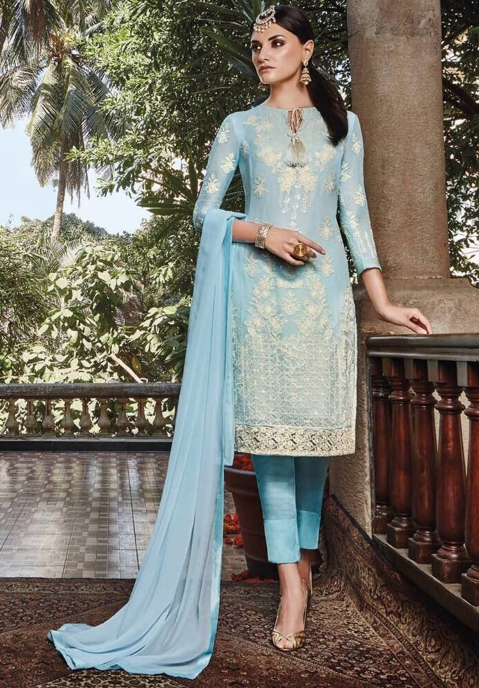 5a25da7e71f Blue Georgette Narrow Pant Suit with Dupatta - SALWAR KAMEEZ - Women ...