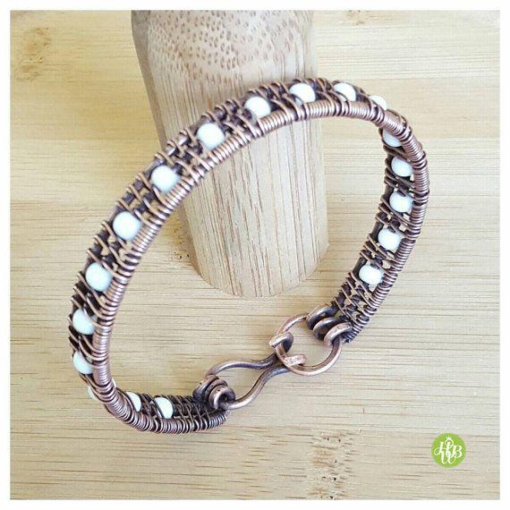White beaded bracelet, copper bracelet, wire wrapped bracelet, gift ...